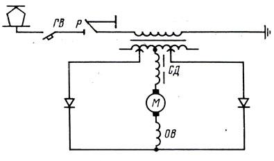 Рис. 11. Упрощенная силовая схема электровоза переменного тока