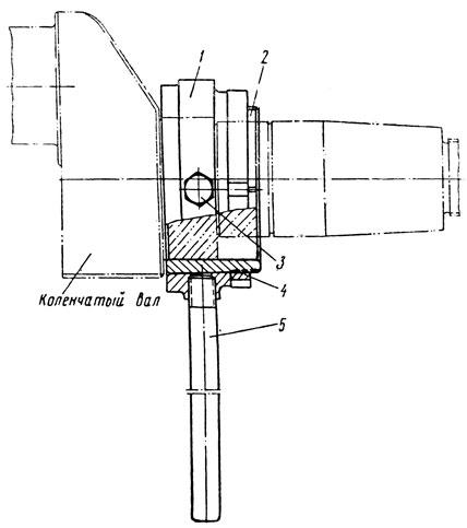 Фиг. 209. Притир для доводки шейки эксцентриковой части коленчатого вала компрессора: 1 - корпус; 2 - втулка; 3 - болт; 4 - гайка; 5 - рукоятка