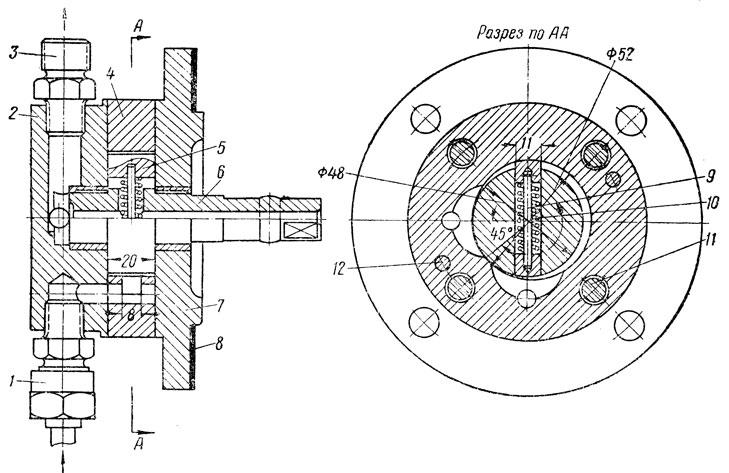 Фиг. 214. Масляный насос компрессора КТ6: 1 - входной штуцер; 2 - крышка; 3 - выходной штуцер; 4 -корпус; 5 - лопасть; 6 - валик; 7 - фланец; 8 - прокладка; 9 - штифт; 10 - пружина; 11 - шпилька; 12 - установочный штифт